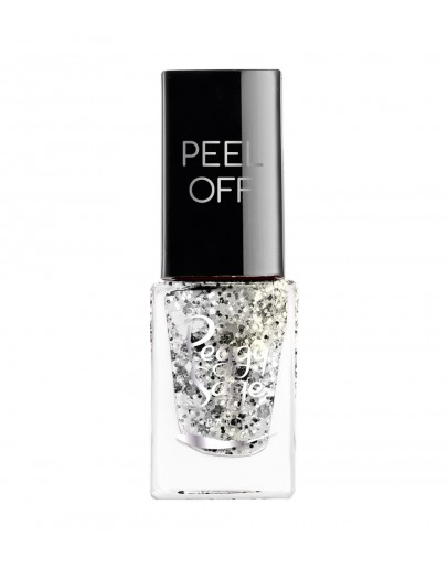 Verniz Mini Peel-off - Silver glitter